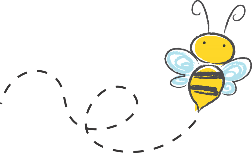 Drawing of a yellow bee buzzing in circles