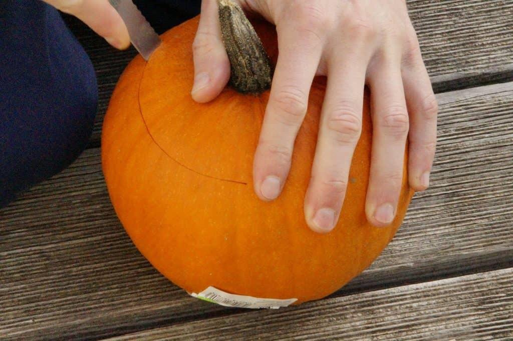 Cutting open a pumpkin with a knife